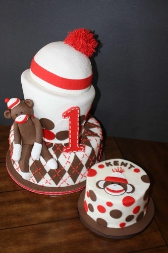 Sock Monkey Cake with mini birthday boy cake! I need to make this for Gavin's 2nd birthday!  I think this is the design!!!!  So excited'