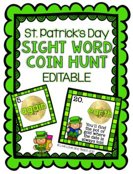 """This is a PDF and PPT download for a """"write the room"""" inspired activity called St. Patrick's Day Coin Hunt.This product comes with a pre-filled version with the following 20 sight words already typed on the coin cards:because, here, move, kind, again, change, off, air, away, mother, answer, learn, should, world, high, every, near, school, father, earth.Additionally, there are editable PPT files included with pre-made text boxes for you to type in your own set of words on the cards and your…"""
