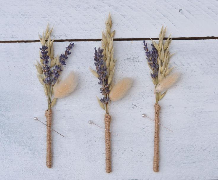 Lavender and Oat Natural Boutonnniere Boho Buttonhole for Groom and Groomsmen Dried Flowers Handmade Wedding Accessories Modern Wedding by CGWeddingFlowers on Etsy https://www.etsy.com/listing/244386183/lavender-and-oat-natural-boutonnniere