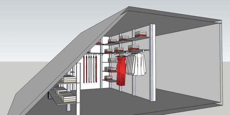 Inloopkast ontwerpen onder schuin dak.