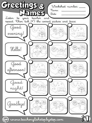 Greetings and Names - Worksheet 3 (B&W version)