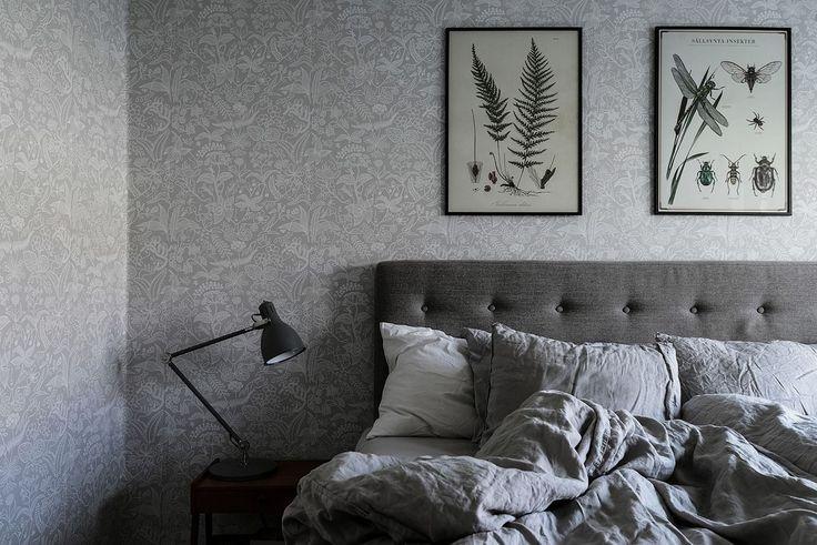 Lägenhet sovrum tapet Grazia av Stig Lindberg