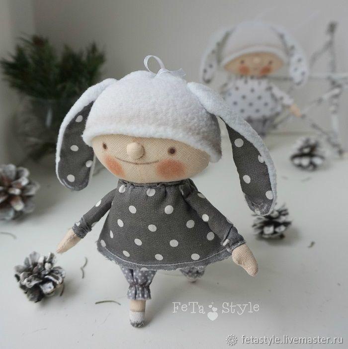 Купить Зайка Серый Игрушка на Елку Кукла текстильная - подарок на новый год, подарок на рождество