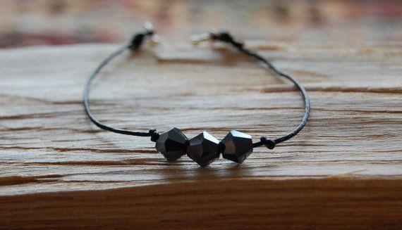 Black eather cord bracelet with three swarovski by AasJewelry