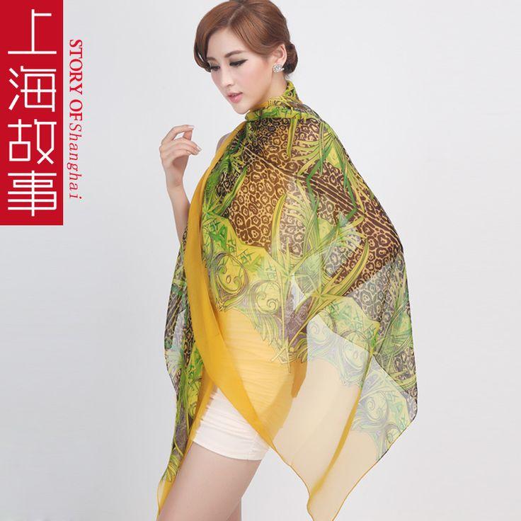 Желтый зеленый шелк длинная шелк шарф обертывания шелк Mulberry шифон расширенный шелк шарф глушитель осень зима шарфы