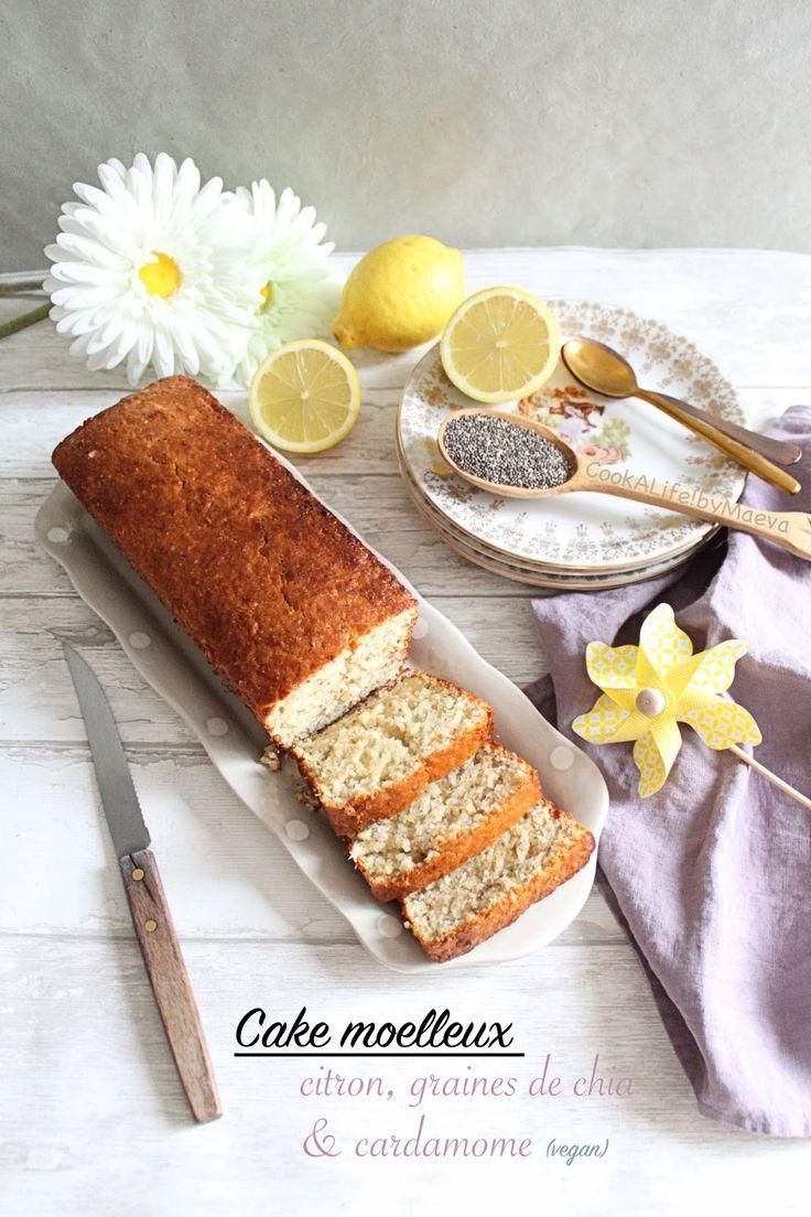 Cake moelleux au citron, graines de chia et cardamome (vegan) • Cook A Life! by Maeva