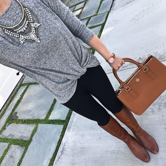 awesome cognac boots, Twist front cozy fleece pullover, camel handbag, crystal grendel b...
