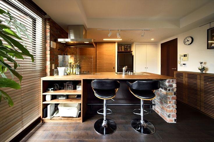 リフォーム・リノベーションの事例|キッチンカウンター|施工事例No.508珪藻土と木のぬくもりに包まれた、バーカウンターのあるリビング|スタイル工房