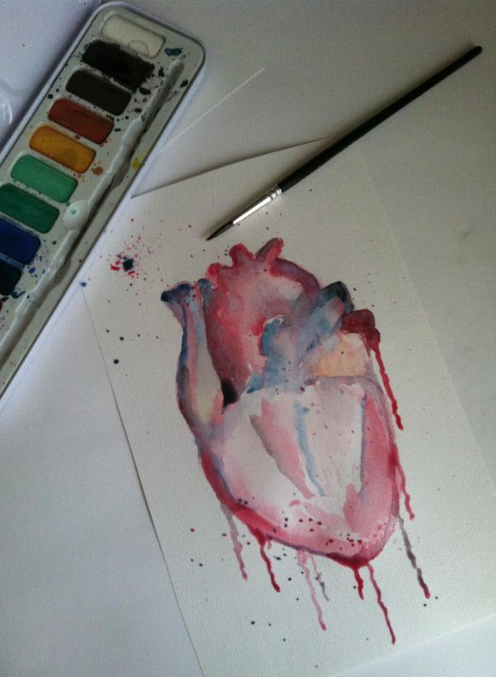 Anatomical Heart Watercolour by MasochisticHeartache.deviantart.com on @deviantART