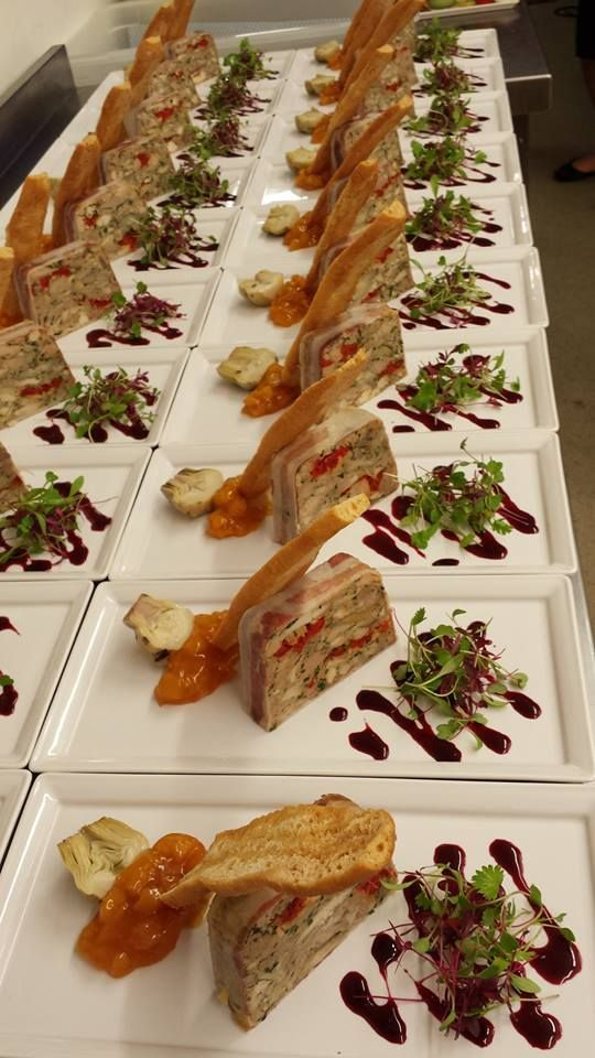 Terrine of braised ham hock, corn-fed chicken and dry cured bacon #ClockBarn #GallopingGourmet