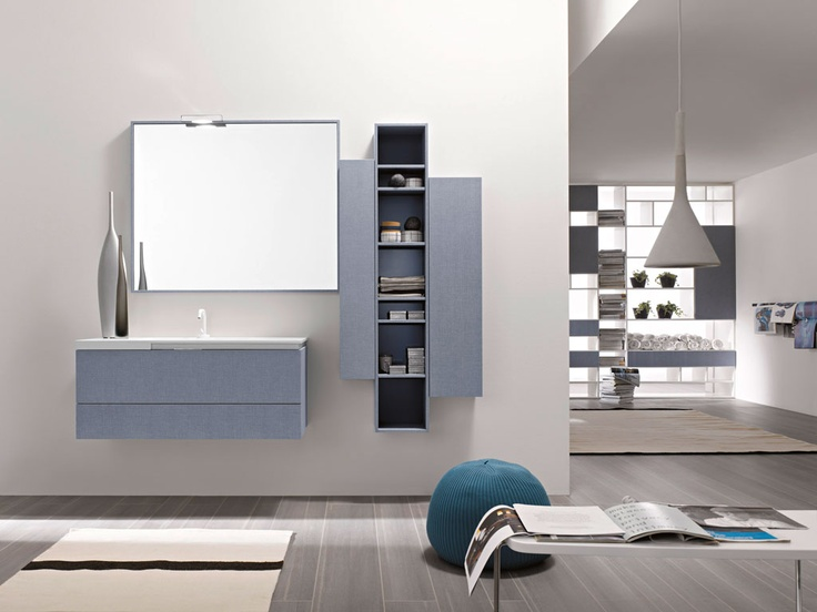 FLY 104 - Denim Blu / lacquered L20 Oltremare matt. Integrated countertop Cosmos 108 mineral marble.
