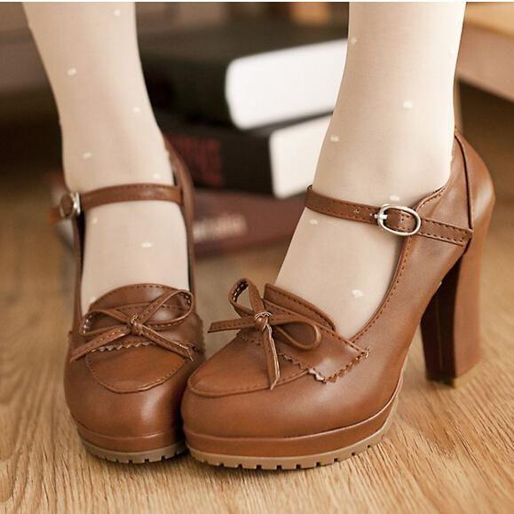 Beige negro marrón princesa Lolita bowtie dulce lindo zapatos japoneses criada cosplay de la animación zapatos muchachas del estudiante de cuero de la PU women shoes en Bombas de las mujeres de Calzado en AliExpress.com | Alibaba Group