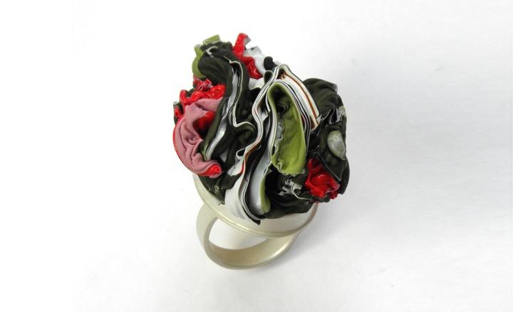 "Silver and plastic ""Grace"" brooch by Machteld van Joolingen, the Netherlands"