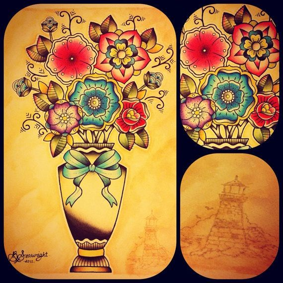 Traditional feminine tattoos, love these flowers and the colours...for my foot perhaps?