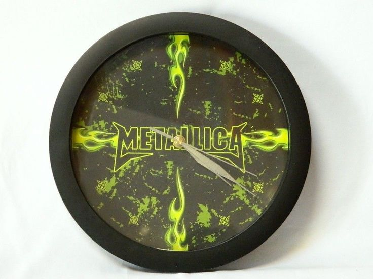 Metallica Wall Clock Heavy Metal Band Black Neon Green Flames Battery Operated