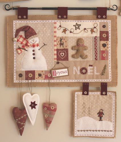 *Patch Noël, pour la belle idée* christmas decoration ornament sew burlap country style red brown white embroidery applique