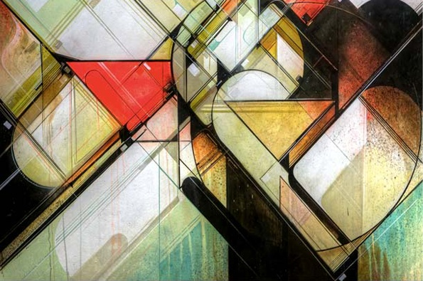 Abstract Architectural Painting. Augustine Kofie (b1973)  has been active in the West Los Angeles graffiti scene since the mid-90s. He is primarily self-taught and has a deep interest in architecture, typography, 1960s iconography, contemporary music and street culture.
