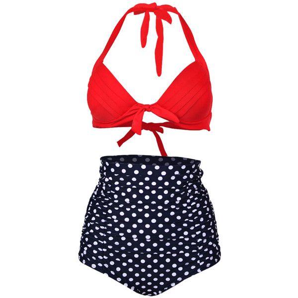 Choies Red Halter Bikini Top And High Waist Polka Dot Bottom ($20) ❤ liked on Polyvore featuring swimwear, bikinis, swimsuits, bikini, unsort, multi, high waisted bikini, red polka dot swimsuit, halter top swimsuit and halter bikini