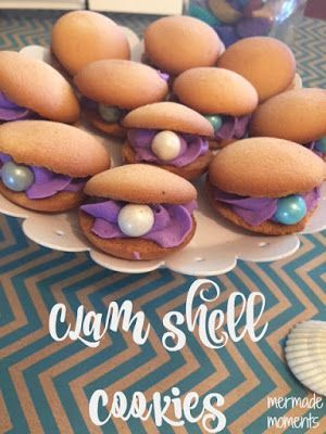 clam shell cookies // a mermaid themed first birthday | cute easy idea to make any party or young ones childhood magical