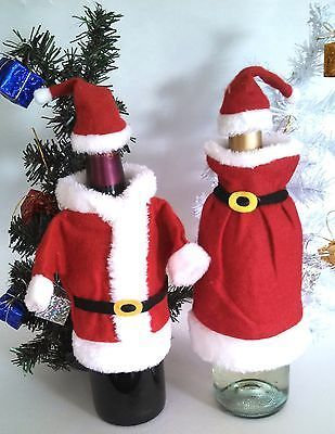 Set of 2 New Santa Mrs Claus Wine Bottle Covers Christmas Decorations Ships Free | eBay