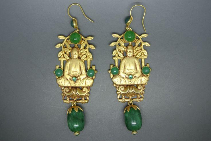 Askew London Buddha Green Peking Glass Filigree Gold Plated Earrings | eBay