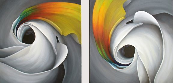 METAMORPHOSIS, oil on canvas,  suite of 2 - 20 x 20 inches, 2012.