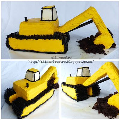 mila + cuatro: How to make a 3D digger cake [Excavator cake]