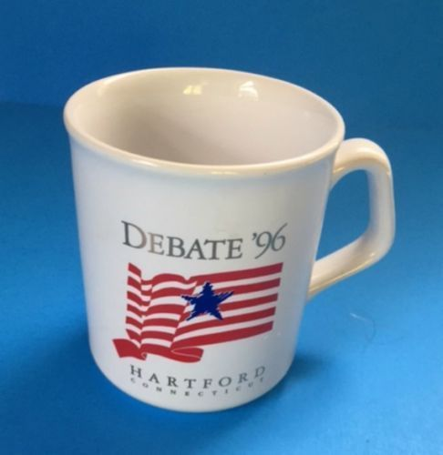 President Debate 96 Coffee Cup Mug Hartford Connecticut Political Deer Flag