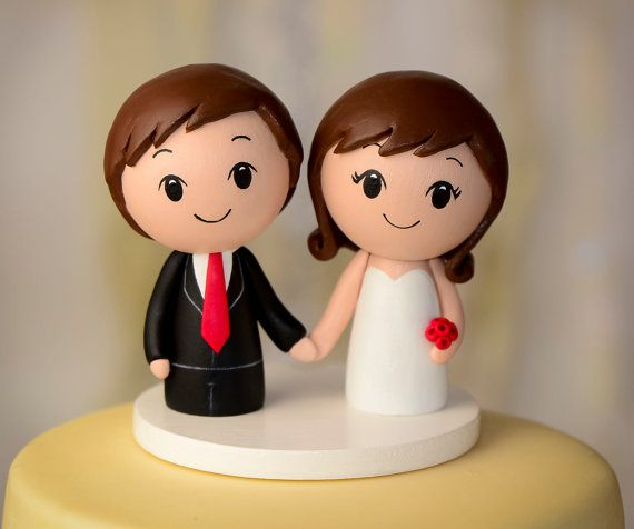 Custom Wood Wedding Cake Topper Peg Doll by CakeToppersStudio, $79.00