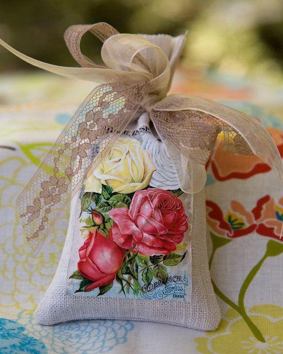 Lavender Sachet / Vintage Seed Catalog Label on Linen Bag Sachet / Sachet Gift on Etsy, $7.00