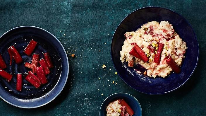 Sometimes boiled, sometimes baked, rice puddings are loved the world over. This sweet edition features pistachio, mascarpone and our friend rhubarb. #TheSeasonalCook