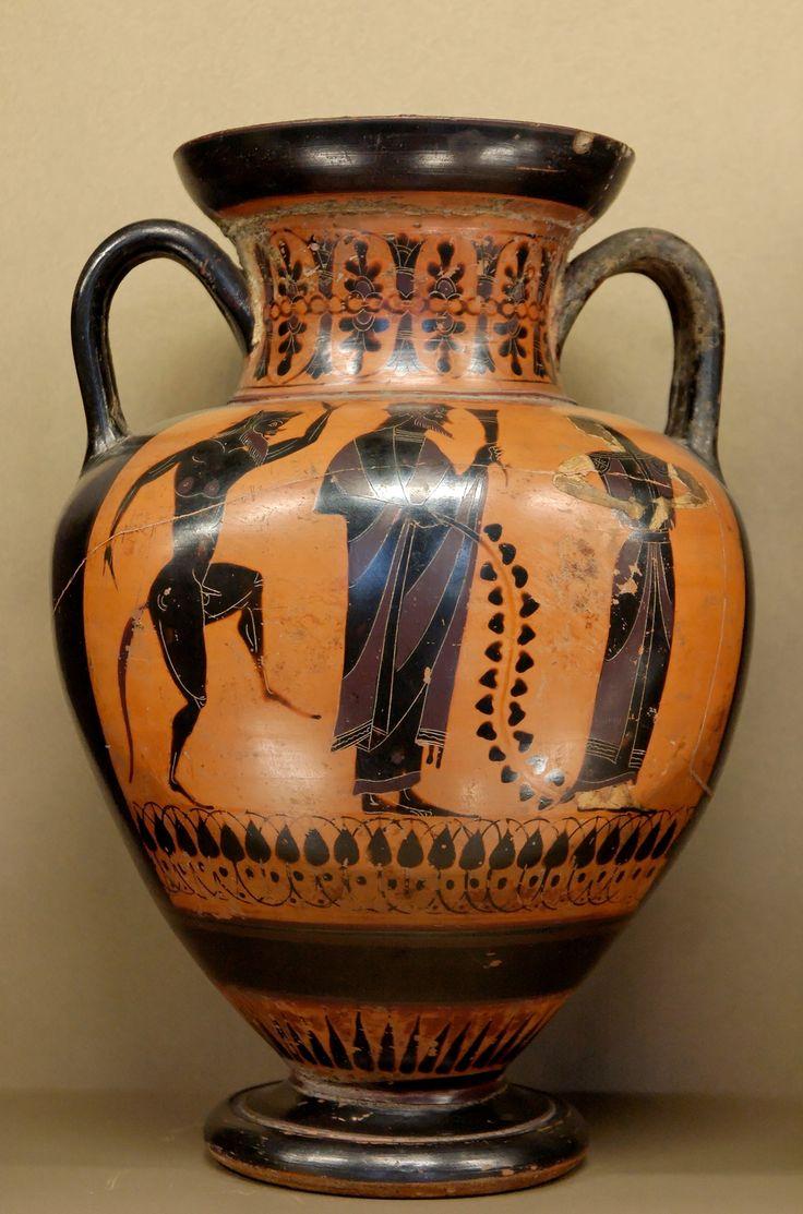 Dionysos A Satyr And A Maenad Attic Black Figure Neck