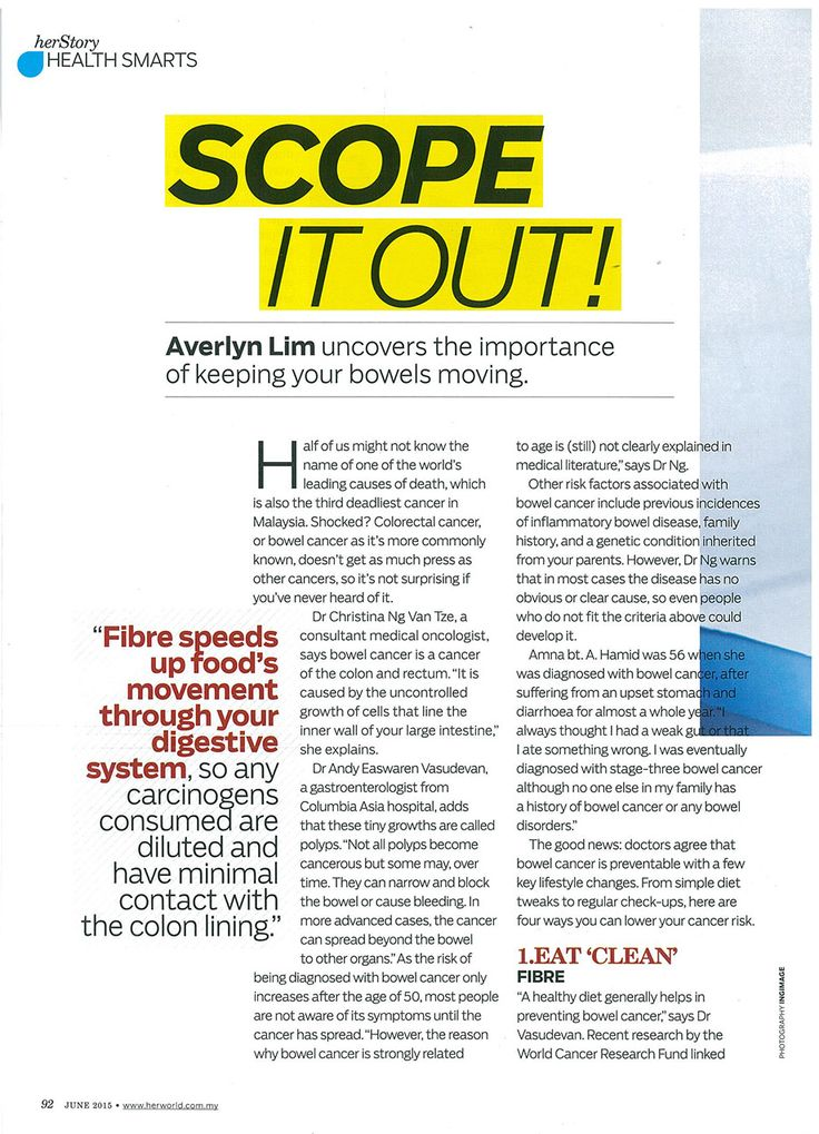 Scope It Out - HER WORLD Magazine. Uncover the importance of keeping your bowels moving. Find out input from Dr Andy Easwaren Vasudevan, Consultant Internal Medicine Physician & Gastroenterologist of Columbia Asia Hospital – Petaling Jaya.