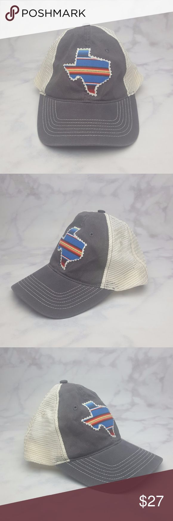 Texas Boho Snap-Back Trucker Hat Navy Blue & White Boho Style Texas Trucker Hat Cap Snap-Back Navy Blue & Off-White. Features a stylish Boho look as the outline of the state of Texas is colored in with multiple colors of Blue/black/red/yellow/orange/white/green. A loose thread on the Texas patch (pictured). One Size Fits All with the adjustable snap-back snaps. New Without Tags. 60% Cotton 40% Polyester. No Trades! Accessories Hats