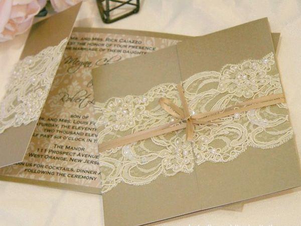 Invitación boda vintage encaje y liston