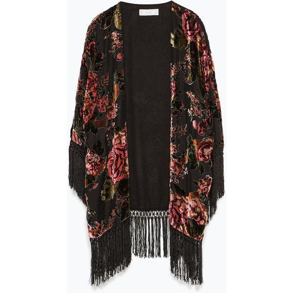 Zara Fringed Devoré Kimono ($30) ❤ liked on Polyvore featuring outerwear, jackets, kimono, cardigans, tops, black, zara jacket, zara kimono, kimono jacket and fringe jacket