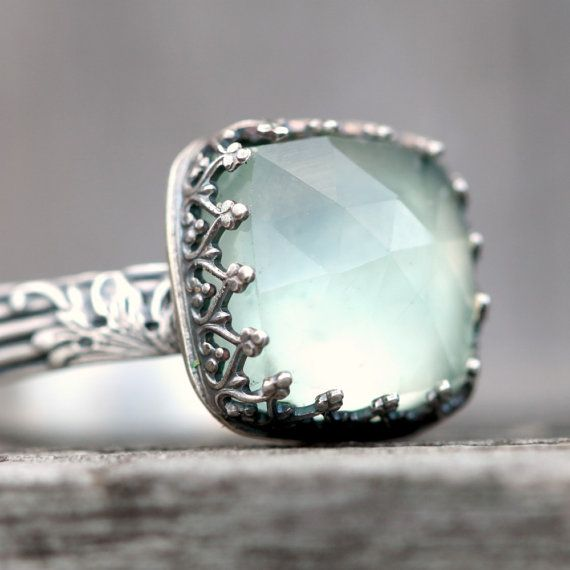 Prehnite and Sterling Silver Cocktail Ring