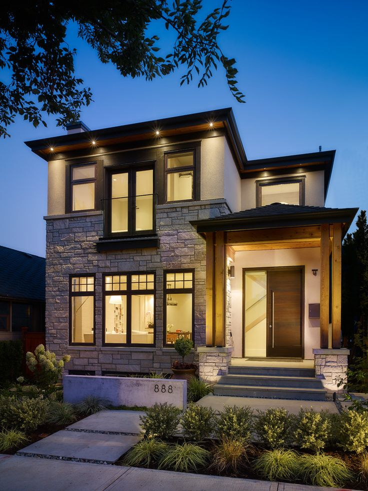 Engaging Modern Home Design Remodeling Vancouver Craftsman Address Numbers Entry Landscape Night Lighting Pavers Porch