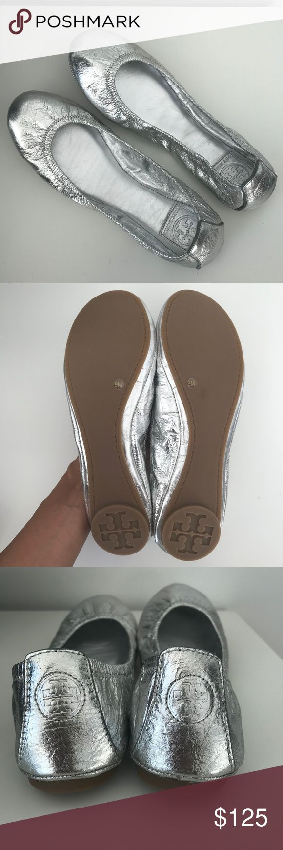 NEVER WORN Tory Burch Metallic Silver Ballet Flats Authentic Tory Burch ballet flats, super comfy. Purchased at Bloomingdales' in NYC, but never worn.  Pair with a flirty skirt or blue jeans; very versatile! Perfect for Spring!  Size 9 US - fits true to size. Tory Burch Shoes Flats & Loafers