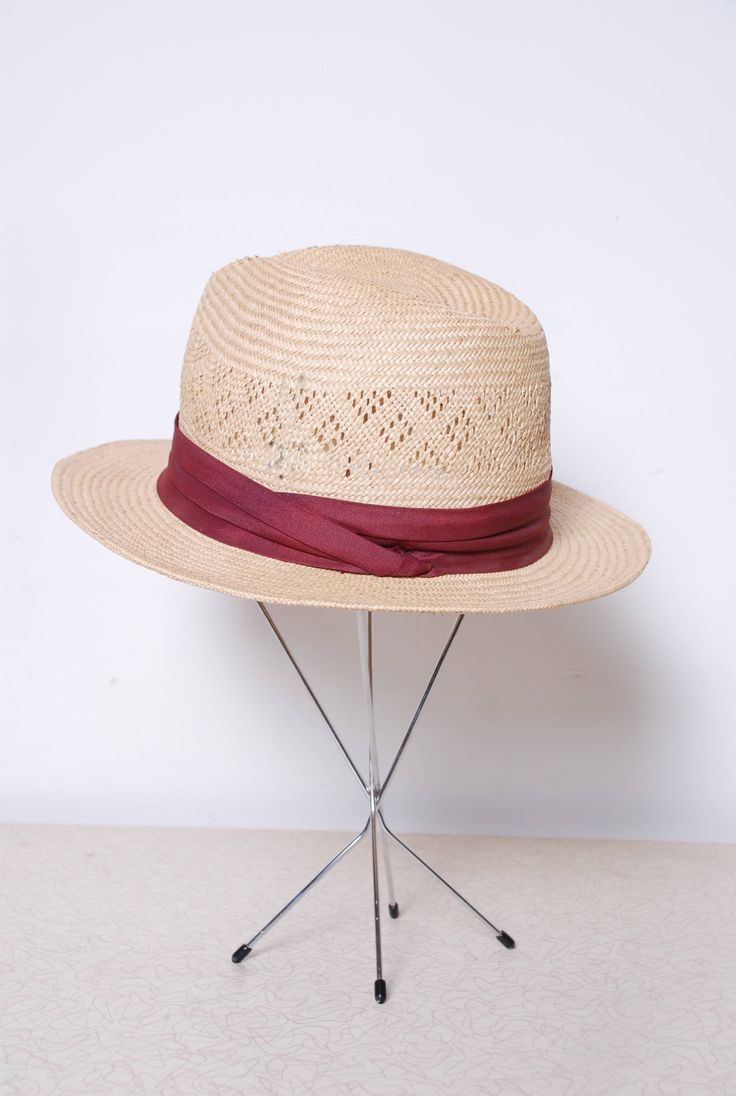60s Whicker Fedora Mans Summer Hat Maroon Hat Band Slightly Distressed  Vintage Fashion Streetwear Boho Hipster Woven Straw Sunhat