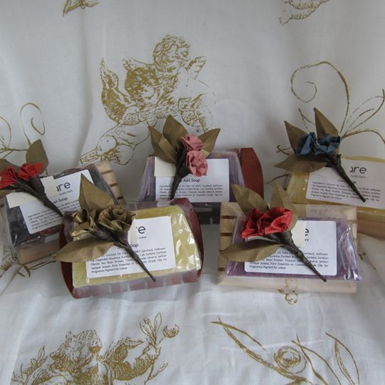 Handcrafted glycerin soap on a stylish wooden soap rack great little Christmas gift $15AU