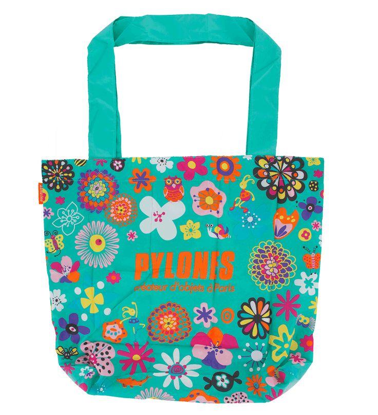 Pylones Studio / Shopping en Fleurs, sac de course turquoise : 2.00€