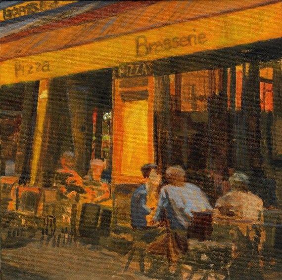 Night Cafe   ART Print 8x8 from Original Painting by PetiteMalou, $24.00