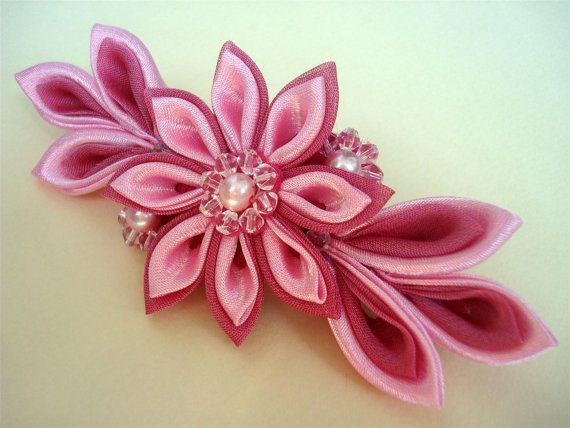 Satin Kanzashi Flower Barrette Pink Fabric Flowers by Ivanna, $29.00
