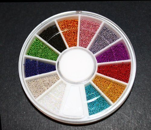 12 Colors Mini Ball Beads NAIL ART 3D Decoration In Wheel with Bonus Sample by La Demoiselle. $3.82. Ships from USA within 24 hours.. Note the size: 0.6mm-0.8mm. Great for fine detailing!. These caviar 'pearls' make it easy to create stunning 3-dimensional effect.. 12 Jazzy Colors Mini Beads with wheel. Bonus: Sample Stars, hearts confetti Decoration Approx 15-20 pcs.. Mini steel beads in 12 vibrant colors as pictured. Wheel size: 6cm Ships from USA within 24 hours.