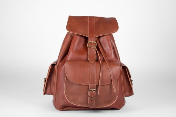 Handmade Natural Large Brown Leather Backpack by MagusLeather, €168.00