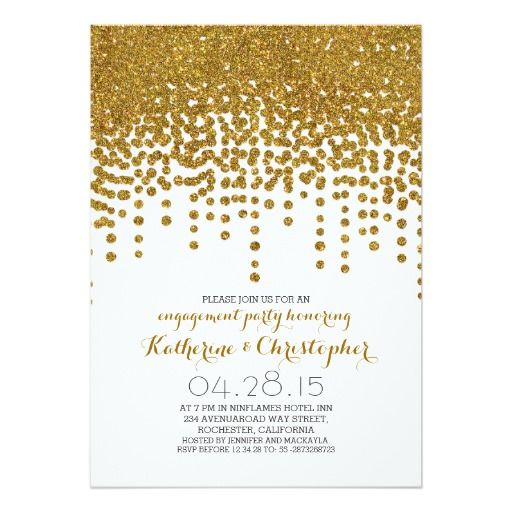 This Deals faux gold glitter foil confetti engagement party 5x7 paper invitation card we are given they also recommend where is the best to buy