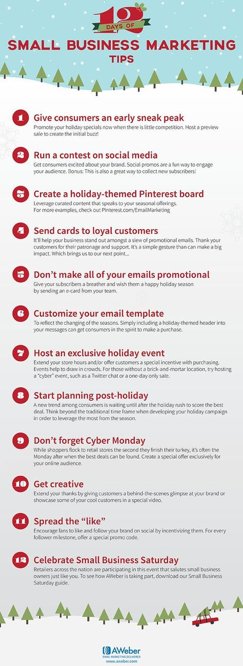https://social-media-strategy-template.blogspot.com/ #SocialMedia 12 Days of Holiday Marketing Tips for Small Businesses #infographic