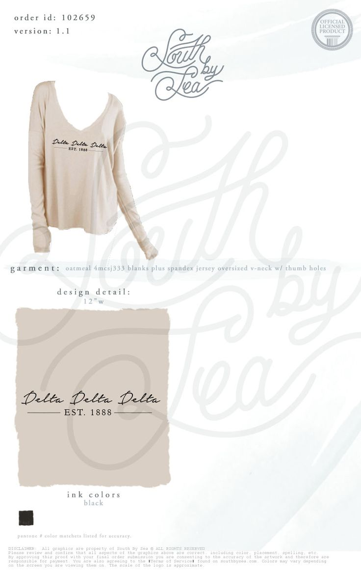 Delta Delta Delta | Tri Delta | Deep V-Neck Long Sleeve | Blanks Plus Jersey Tee | South by Sea | Greek Tee Shirts | Greek Tank Tops | Custom Apparel Design | Custom Greek Apparel | Sorority Tee Shirts | Sorority Tanks | Sorority Shirt Designs