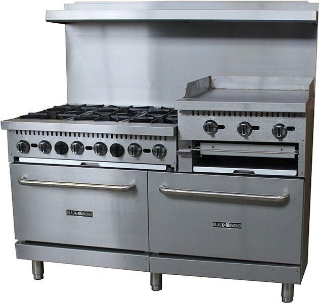 Black Diamond BDGR-6024GB/NG 60in Gas Range/Griddle Combo - 6 Burners, 24in Griddle/Broiler: Restaurant Equipment and Supplies Online : Restaurant Depot